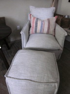 French linen chair and ottoman