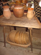 vintage pottery and egg baskets