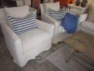 Lee chairs with knit pillows